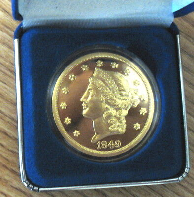 1 National Collectors Mint 1849 Double Eagle Proof Liberty Head $20 Medal n Case