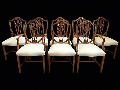 Amazing 8 to 14 Ivory leather Prince of Wales style Chairs Pro French polished