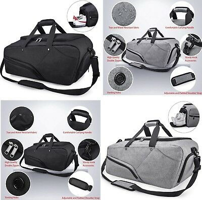 NUBILY Gym Bag Sports Duffle Bag with Shoe Compartment Waterproof Large  Travel L 9a698821d3a86