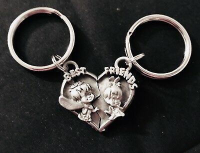 Pewter BEST FRIENDS PEBBLES BAM BAM The Flintstones Cartoon Silver Keychain