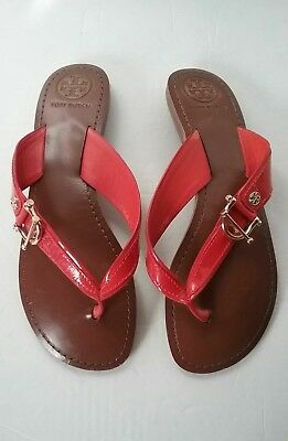 4ff6140a157e77 Tory Burch Nora Logo Patent Leather Flat Sandals Size 9.5M