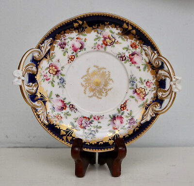A Pretty c19th Antique Hand Painted Floral Cabinet Plate, Applied Gilding