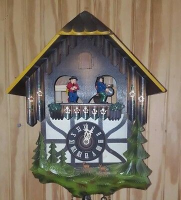 Germany Cuckoo Clock Black Forest Dancing Musical Vintagr Works Great