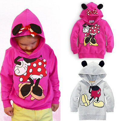 Kids Girls Boys Toddler Mickey Minnie Mouse Hoodies Coat Sweatshirt Tops Casual