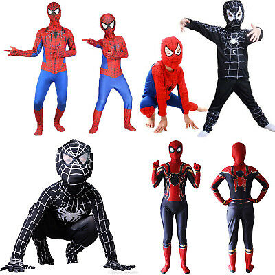 Kid Boys Spiderman Fancy Dress Up Costume Superhero Cosplay Jumpsuit Mask Outfit