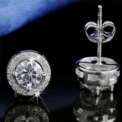 Real 18ct White Gold Plated Crystal Diamond Earring for Men's or boy's