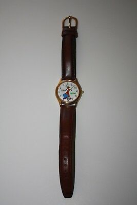 Disney Time Works Goofy Reverse Backward Watch With Leather Strap