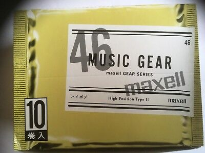 Maxell Music Gear 46 Box Of 10 Factory Sealed Audio Cassettes Japan