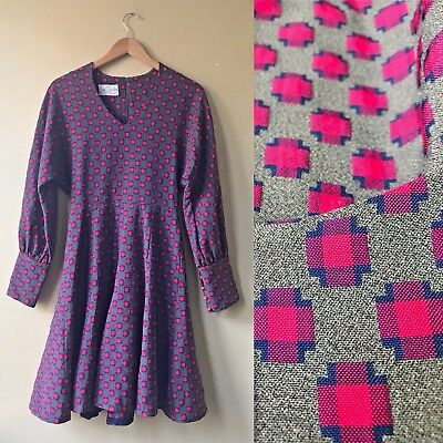 Vintage 1960s Burt Stanley California Gray Pink Print Dress Fit Flare Thick S M