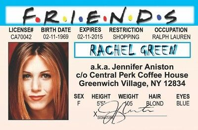 Rachel Green Jennifer Aniston Friends Tv Show Novelty Plastic Card