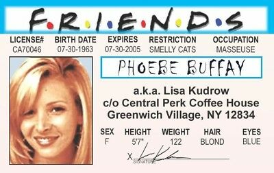 Phoebe Buffay Lisa Kudrow Friends Tv Show Novelty Plastic Card