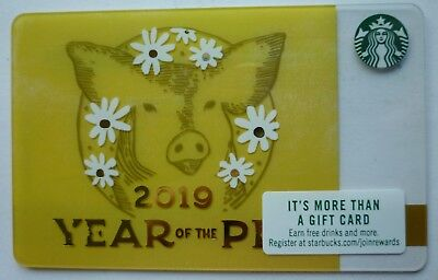 New Starbucks Card 2019 Chinese New Year Of The Pig  2018 #6162 Mint No Value