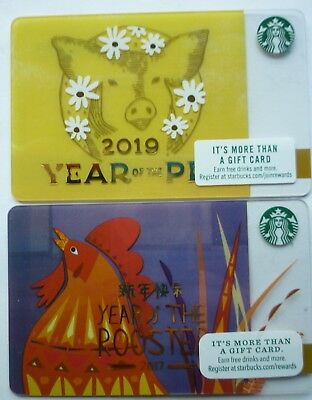 2 - Starbucks Card 2019 Chinese New Year Of The Pig  #6162 & Rooster 2016 #6132
