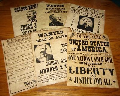 Pledge of Allegiance Old West Wanted Posters Jesse James Johnny Ringo Black bart