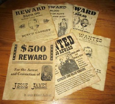 Butch Cassidy Old West Wanted Posters Jesse James Billy the Kid Younger Gang NEW