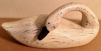 VTG HANDCRAFTED STONE OR CERAMIC SWAN DUCK GOOSE w/CURVED NECK-SIGNED-USA-EUC