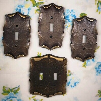 Lot of 4 VTG Amerock Antique Brass Metal Light Switch Plates Carriage House