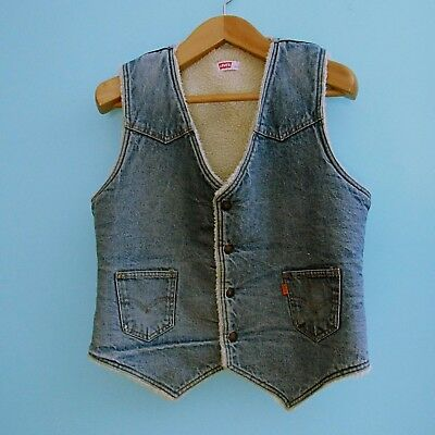 Vintage Levi's Sherpa Denim Vest Orange Tab Men's Large USA Distressed