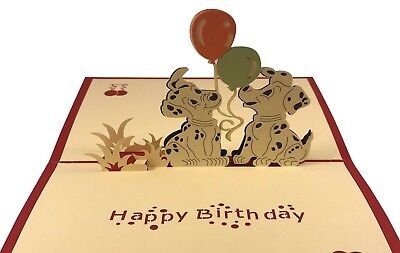 Puppy Dog 3D Pop Up Greeting Card Animal Happy Birthday Love Gift Card Balloons