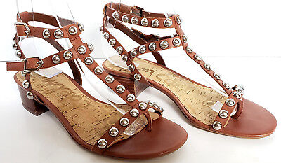 83650c1aa99c Womens Sam Edelman Brown Leather Asbury Gladiator Studded Block Heel  Sandals 7