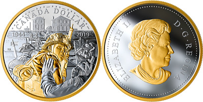 1944-2019 D-Day Proof Pure Silver Dollar $1 Canada Coin: 75th Anniversary