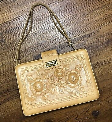 e62425bd3267 Vintage Hand Tooled Roses Floral Leather Mexico Bag Zip Purse Embossed Aztec  M
