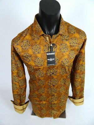 Mens Barabas Classic Fit Shirt Scarlett Red with Paisley Button Front