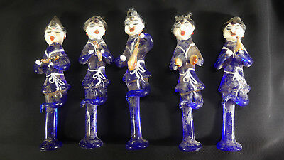 X-RARE Set of 5 Chinese Tang Dyn. Buddhist Translucent Blue Glass Musicians!