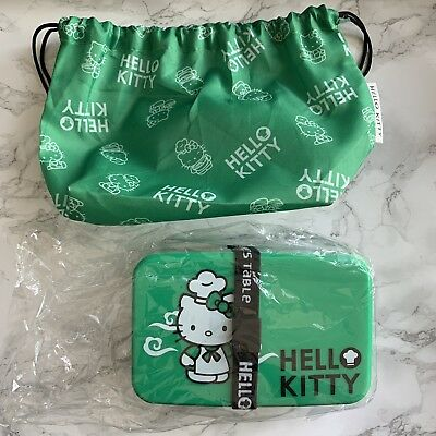 Hello Kitty Compartment Bento Lunch Box with Carry Case in Green