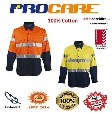 1 x Hi Vis Work Shirt vented cotton drill 3M ref Tape ProCare long sleeves