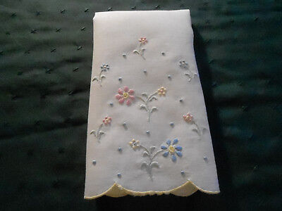 Antique Madeira Embroidered Yellow Linen Towel, Vintage 1920