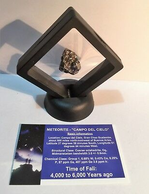 """""""RARE"""" 21.9 Gram Meteorite """"Campo Del Cielo"""" Museum Quality with stand and Cert"""