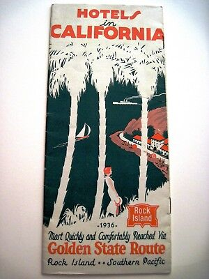 "1936 Travel Brochure ""Hotels In California"" ""Golden State Route""   *"