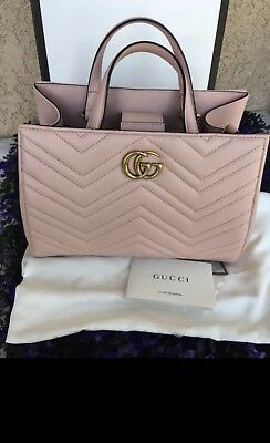 98738753a6e5dc New Gucci Gg Marmont Small Matelasse Pink Chevron Leather Top Handle Bag