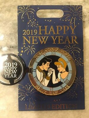 Disney Pin LE Happy New Year 2019 WDW Disney World Cinderella Prince Charming