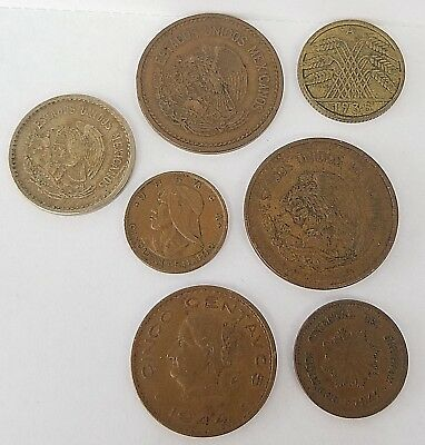 * Lot Of 7 Coins From Various Foreign Countries Uruguay, Mexico, Panama, Germany