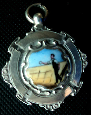 Attractive Silver & Enamel Medal / Watch Fob / Pendant - Quoits h/m 1925 Chester