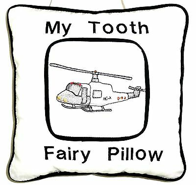 Tooth Fairy Pillow with embroidered Hellicopter on White Cotton 122 New Handmade