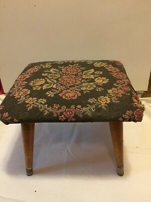 Vintage Mid Century Padded Floral Tapestry Ottoman Foot Stool
