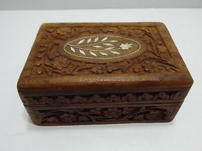 VTG Handcrafted Wooden Jewelry Chest Keepsake Trinket Box Carved Wood Hinged Lid
