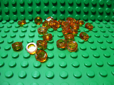 Round 1 x 1  New Lego Lot Of 25 Trans-Light Orange Plate