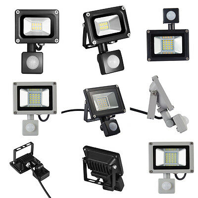 10W 20W 30W LED Floodlight With PIR Motion Sensor Garden Security Spot Lamp IP65