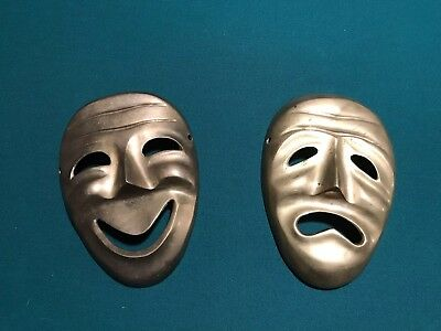 "Vintage Brass Comedy Tragedy Theater  Masks Wall Decor Hanging 6"" Happy Sad"