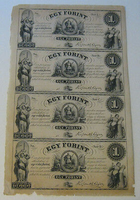 Egy Forint - Sheet of (4) One Forint Notes (Circa 1852)