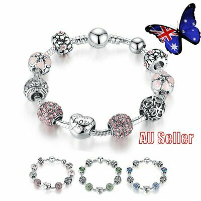 European Rhinestone Vintage Silver Charm Bracelet Crystal Beads Bangle VW