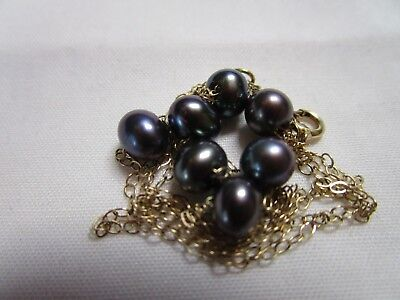 Gorgeous Vtg 14K Gold Aaa Quality Genuine Black Cultured Pearl Tin Cup Necklace