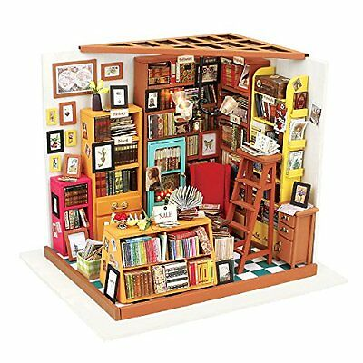 ROBOTIME Dollhouse Dollhouses Kit Miniature DIY Library House Kits Best Birthday