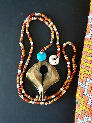 Old Sumba Mamuli on Hand Made Beaded Necklace  …beautiful collection item...