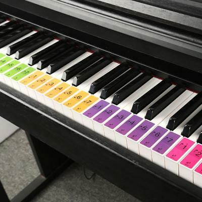 Music Keyboard or Piano Stickers 88 KEY SET removable Colorful LAMINATED sticker