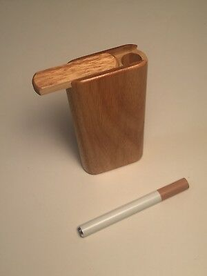 "4"" Dugout / One Hitter Exotic Wood Slide Top With Aluminum Cigarette"
